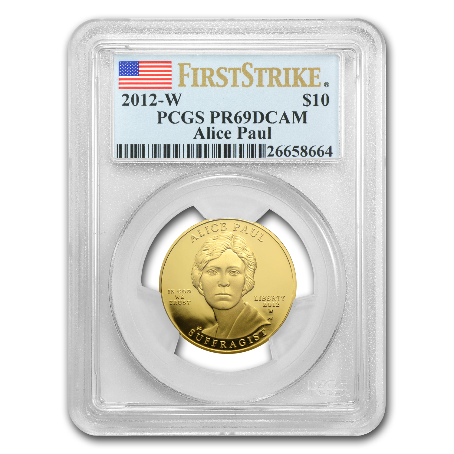 2012-W 1/2 oz Proof Gold Alice Paul PR-69 PCGS (FS)